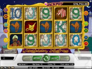 screenshot of the jackpot game Arabian Nights