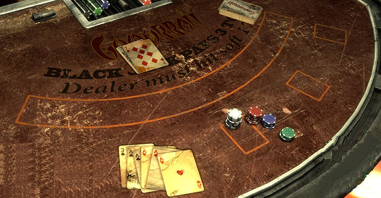 old blackjack table with cards and chips on it