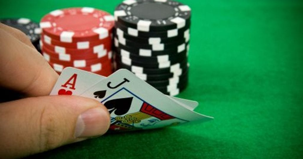 players holds blackjack hand