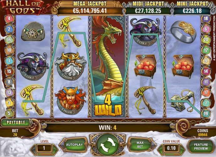 screenshot of the jackpot pokies Hall of Gods