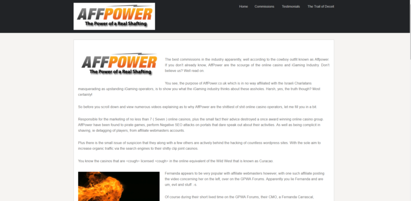 Affpower Home Page screenshot