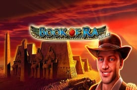 Logo of the Book Of Ra Deluxe pokies game