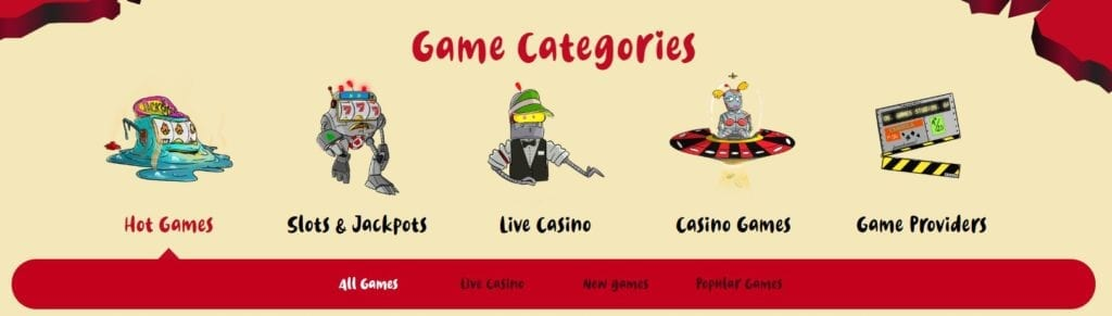 Casoola casino available types of games.
