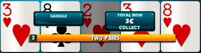 gamble and collect options at Video Poker