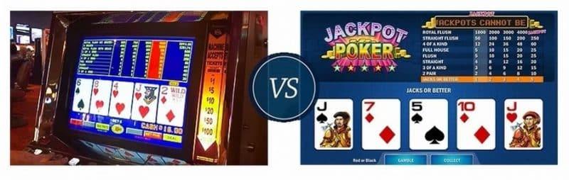 video poker machine vs online video poker