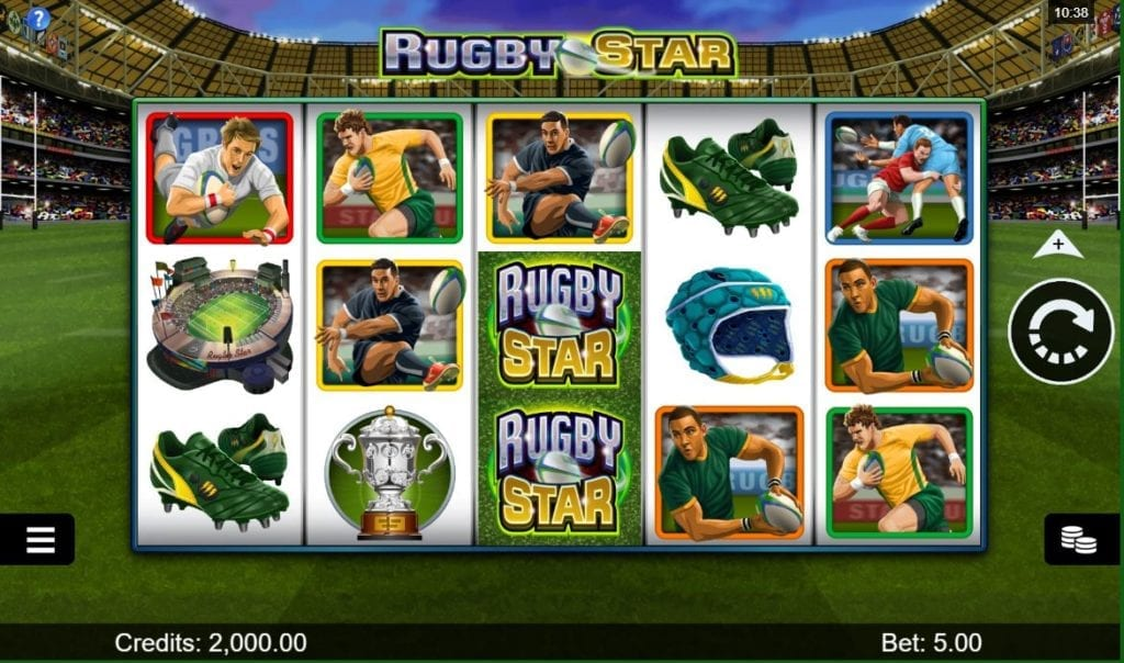 screenshot of popular Microgaming online pokie called Rugby Star