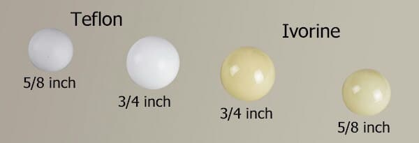 roulette balls sizes, types and materials