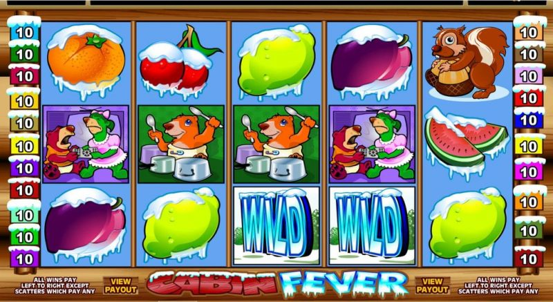 screenshot of the microgaming slot/pokie Cabin Fever