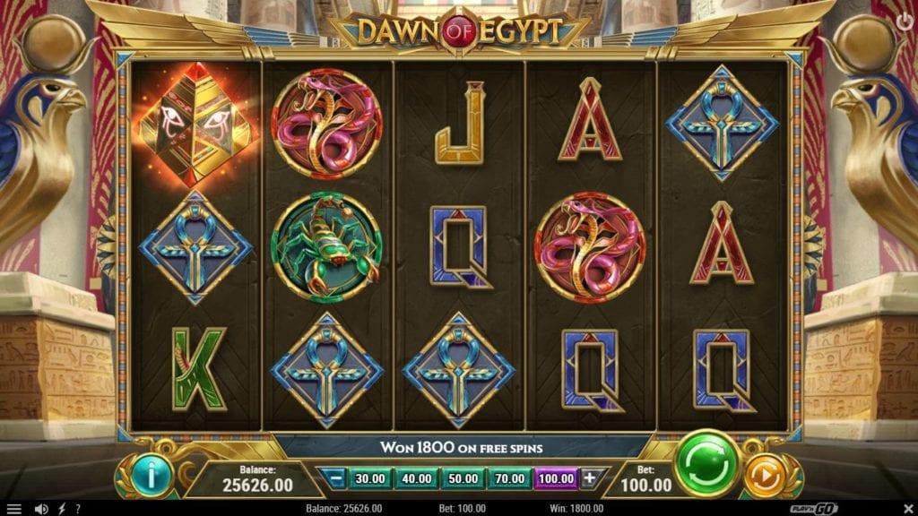 Screenshot of the gameplay Dawn of Egypt pokie