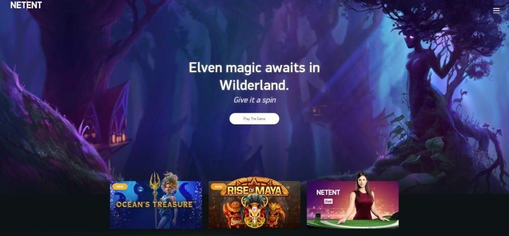 Netent homepage screenshot
