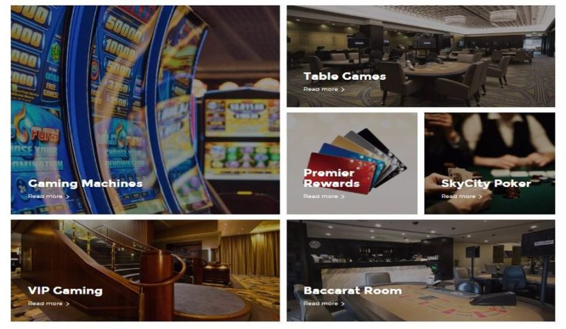 Types of available games at Sky City Auckland casino.