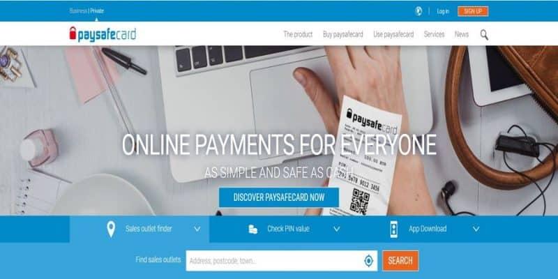Paysafecard official website screenshot