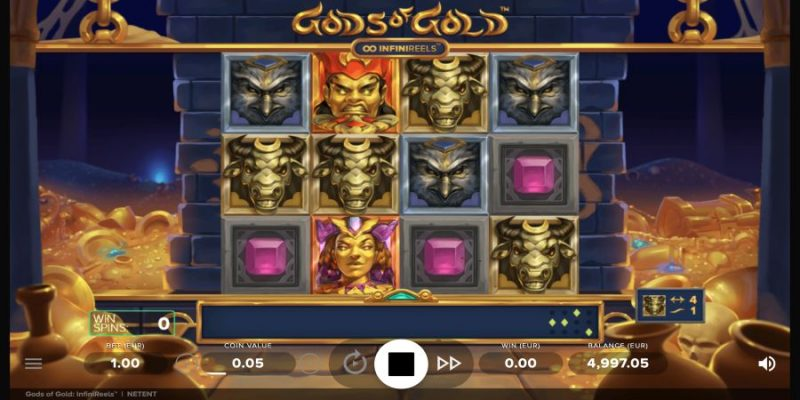 screenshot of the Gods of Gold online pokies game