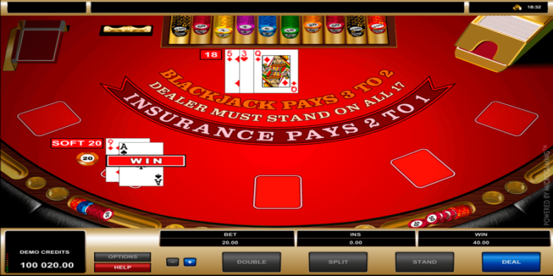 screenshot of the European Blackjack.