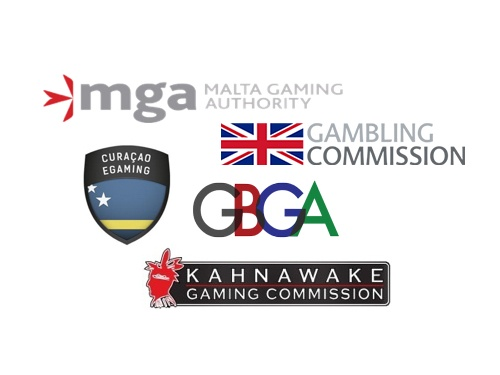 Logos of the top casino regulatory bodies.