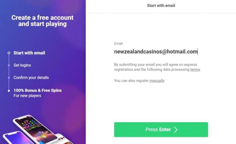 Create account box form at Dreamz casino.