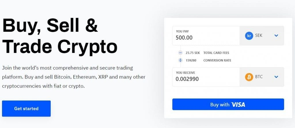 Bitcoin page where you can buy sell and trade crypto.