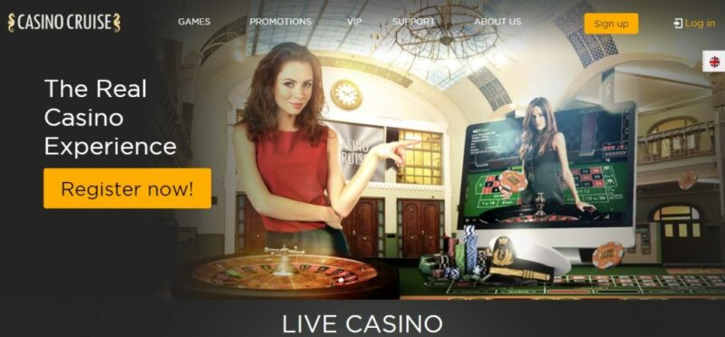 Casino Cruise home page screenshot.