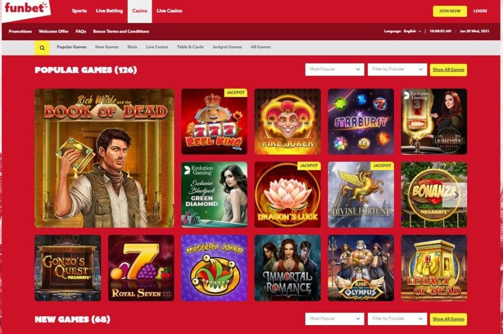 Funbet casino homepage screenshot.