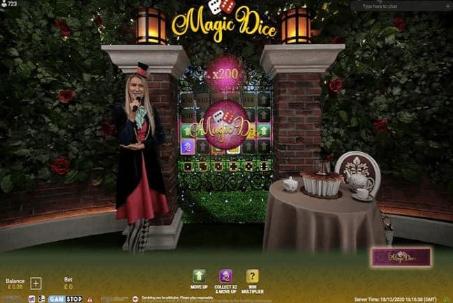 Screenshot of the Magic Dice bonus game.