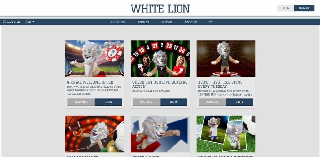 Promotion page at White Lion.