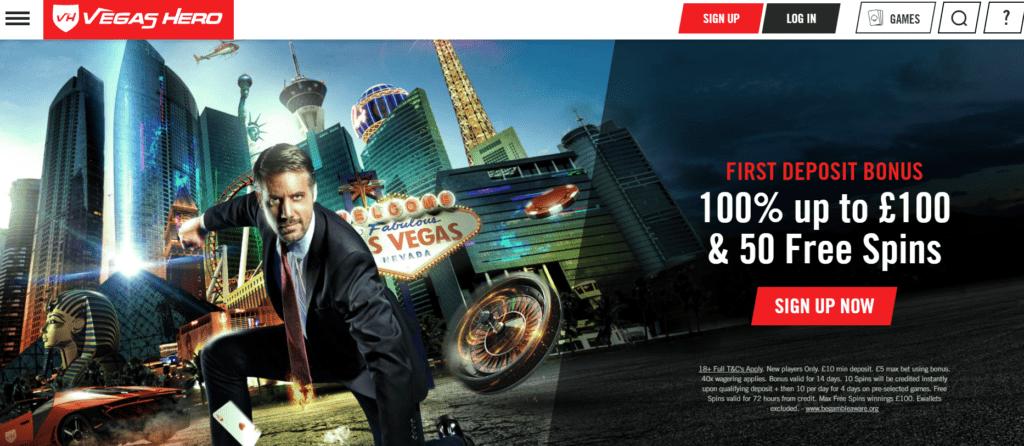 Vegas Hero casino homepage screenshot.