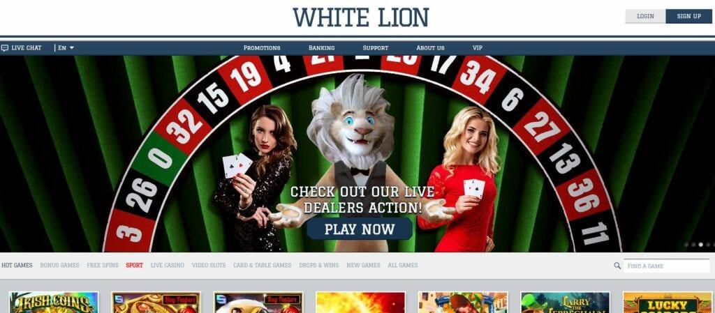White Lion casino homepage screenshot.