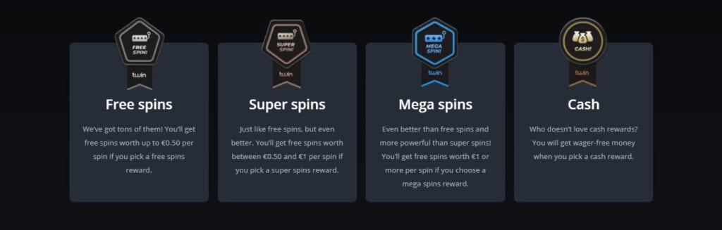 Twin casino types of rewards