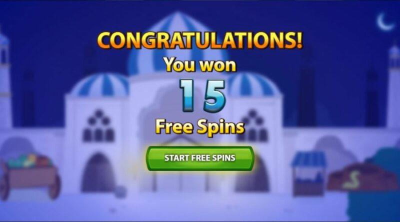 Free bonus spins in Arabian Nights.