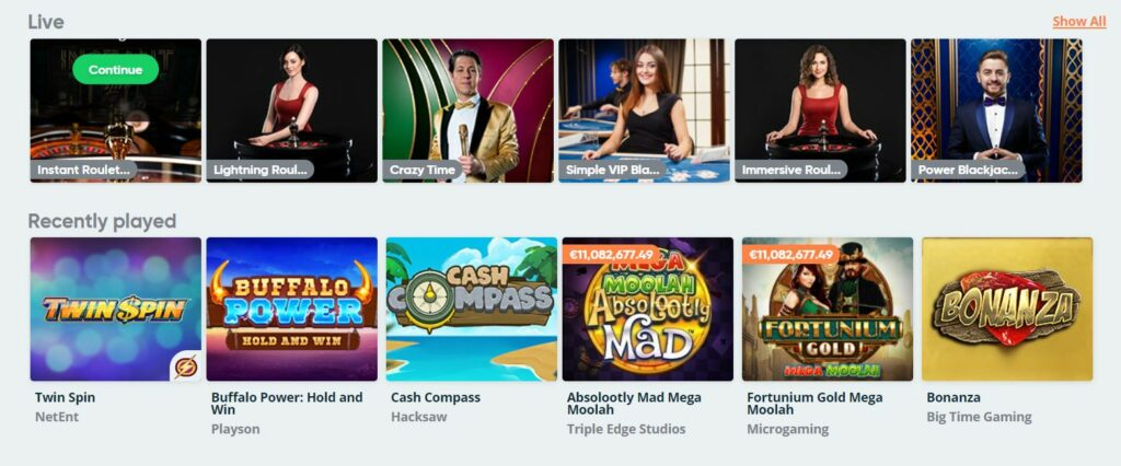The list of games at Simple casino.