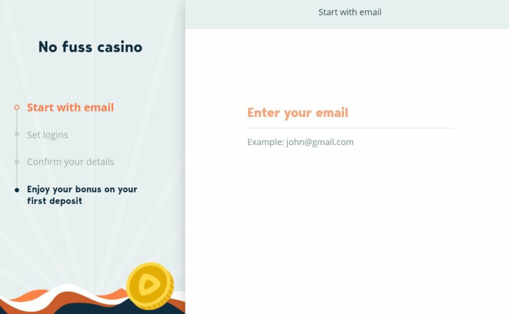 Registration form at Simple casino.