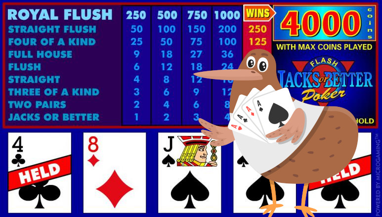 Screenshot of the Videopoker game.