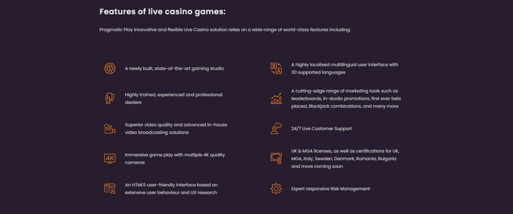list of pragmatic play live casino features