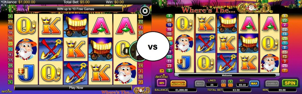 Demo vs real version of the Wheres the Gold slot machine.