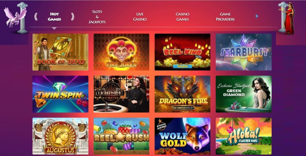 Screenshot of the games page at Casino Gods.