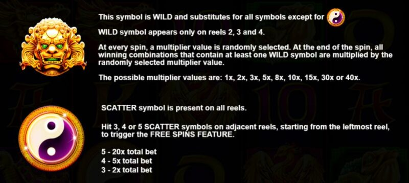 Wild and scatter symbol info
