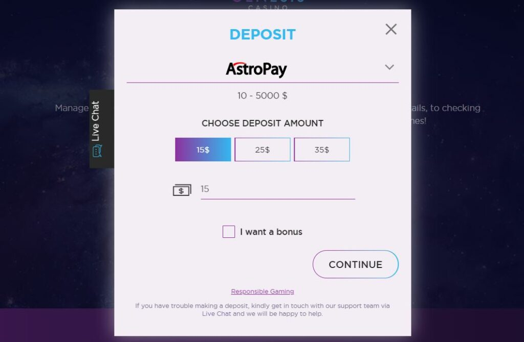 example od astropay deposit page at online casino.