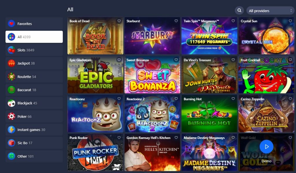 betmaster games page