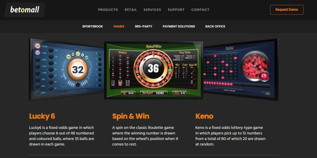 Screenshot of the Betomall homepage