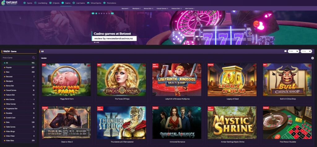 Screenshot of the casino games page at Betzest gambling site.