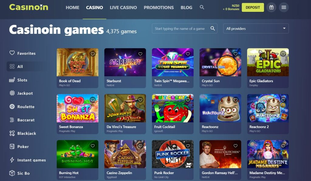 Casinoin games page screenshot.