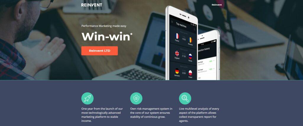 Screenshot of the Reinvent Ltd homepage.