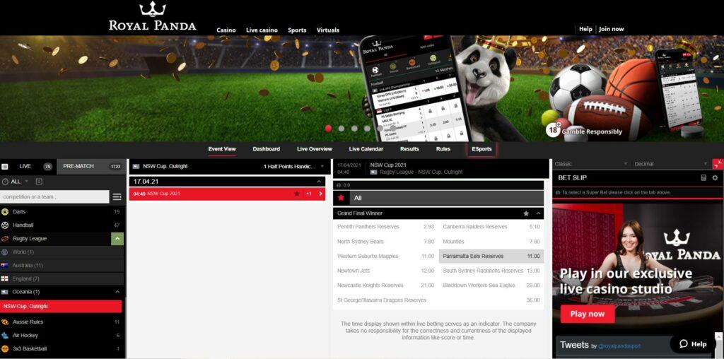 Screenshot of the Royal Panda casino sports betting page.