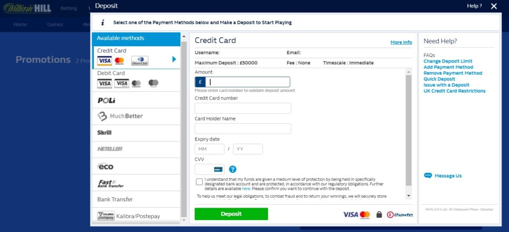 cashier page and all payment methods listed at William Hill.