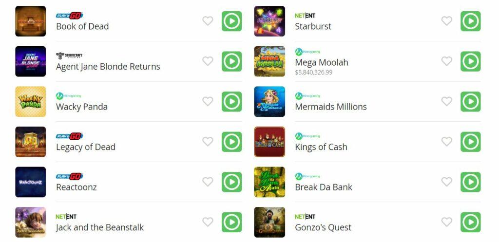 popular casigo casino games