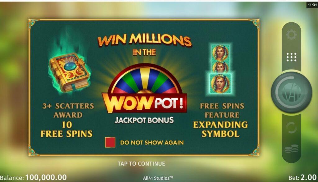 Book of Atem Wowpot winning the jackpot