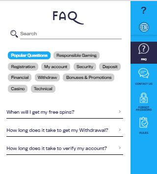FAQ section at casino Dome.