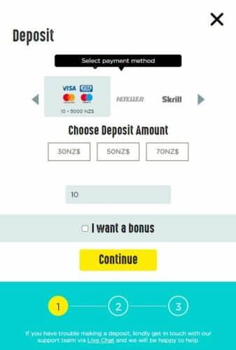 Spinit deposit page screenshot