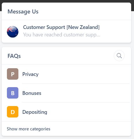 Spin Rio customer support page