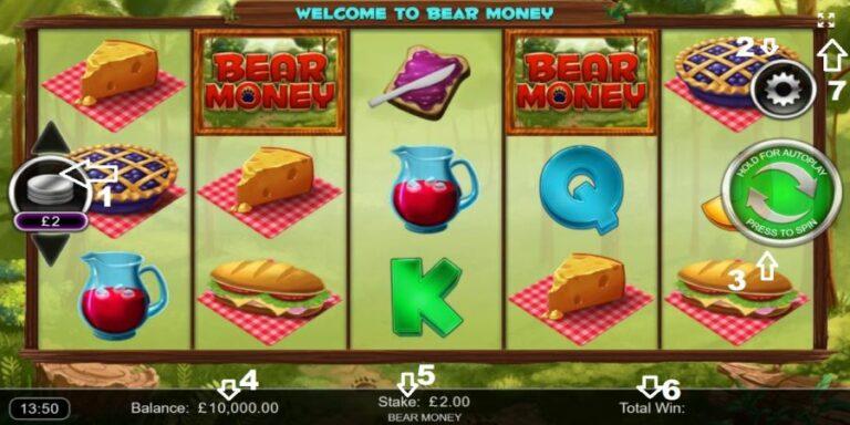 Screenshot of the main Money Bears screen.